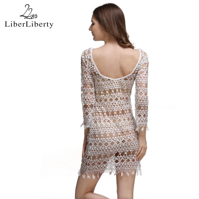 2018 Beach Crochet Cover Up za ženske cvetlične votle čipke Bikini - Športna oblačila in dodatki - Fotografija 6