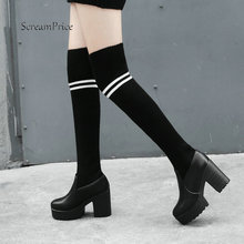 Female Genuine Leather Thick High Heel Comfort Platform Over The Knee Boots Fashion Round Toe Stretch Sock Boots Black White