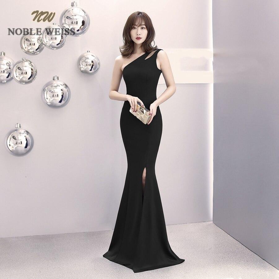 prom     dresses   2019 black/red mermaid   prom     dress   sexy front split vestidos de gala one-shoulder   prom   gown