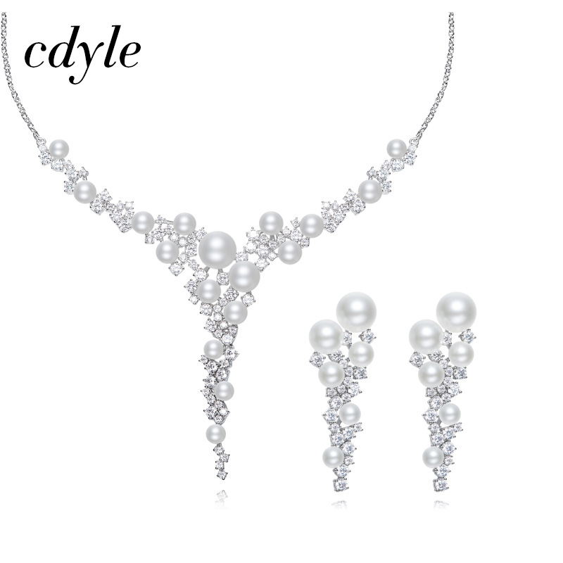 Cdyle Classic Simple Necklace Earrings Sets Australian Rhinestone jewelry Women Wedding Pendant Necklace Earrings Sets Bijous viennois new blue crystal fashion rhinestone pendant earrings ring bracelet and long necklace sets for women jewelry sets