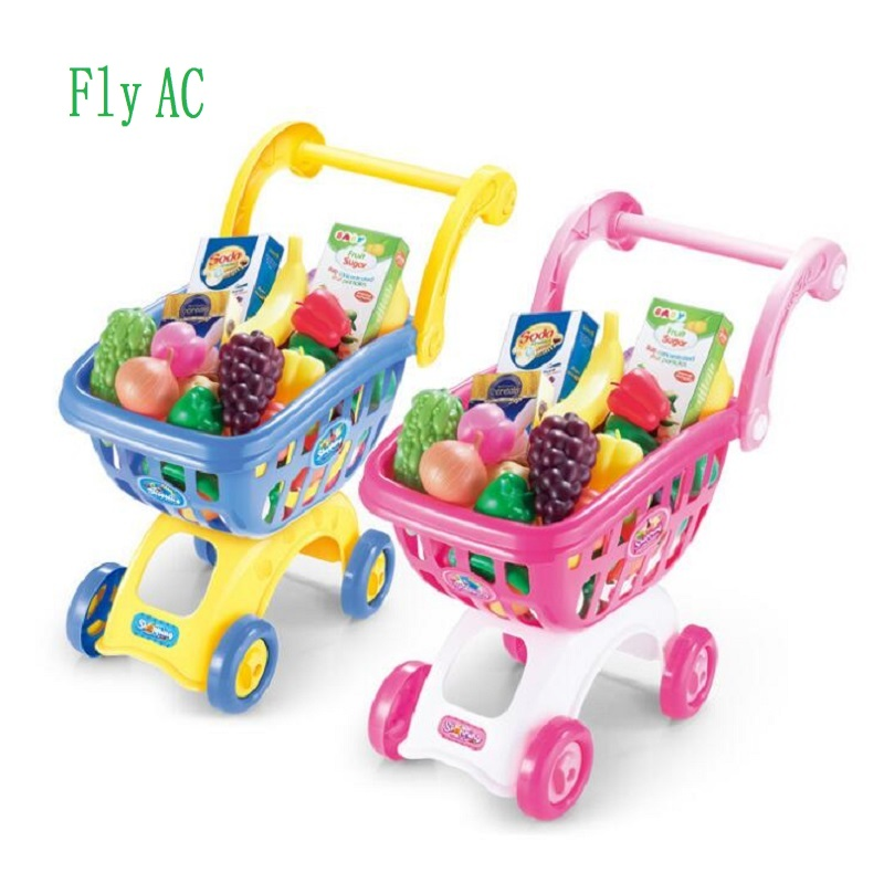 Fly Ac Supermercato Carrello Della Spesa Giocattoli Pretend Gioca Giocattoli Per Bambini Trolley Frutta Verdura Auto Giocattoli Educativi Regalo Prestazioni Affidabili