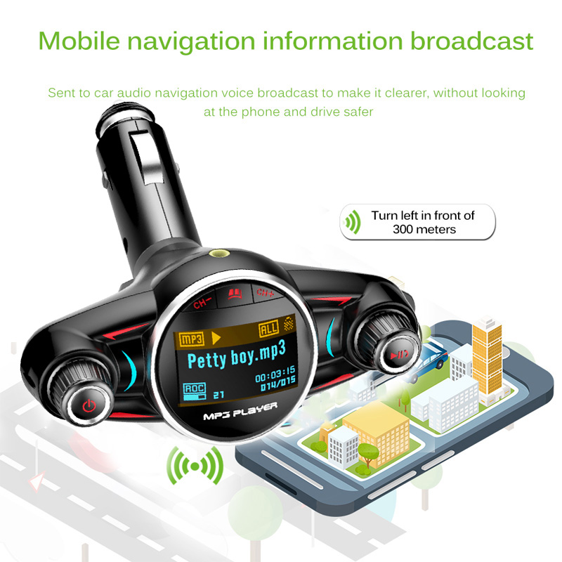 JINSERTA Bluetooth Handsfree Car Kit MP3 Player FM Transmitter Aux  Modulator 2 1A USB Charger for iPhone XS Android