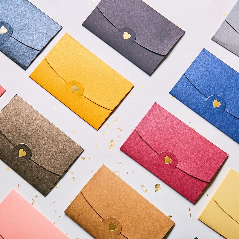 50pcs/set Vintage Love Small Colored Pearl Blank Mini Paper Envelopes Wedding Invitation Envelope /gilt Envelope/11 Color