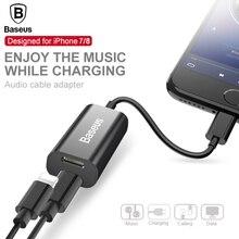 BASEUS 2in1 аудио кабель адаптер для iphone 8 7 Aux кабель-разветвитель для iphone 8 наушники кабель для зарядки вызова передача данных