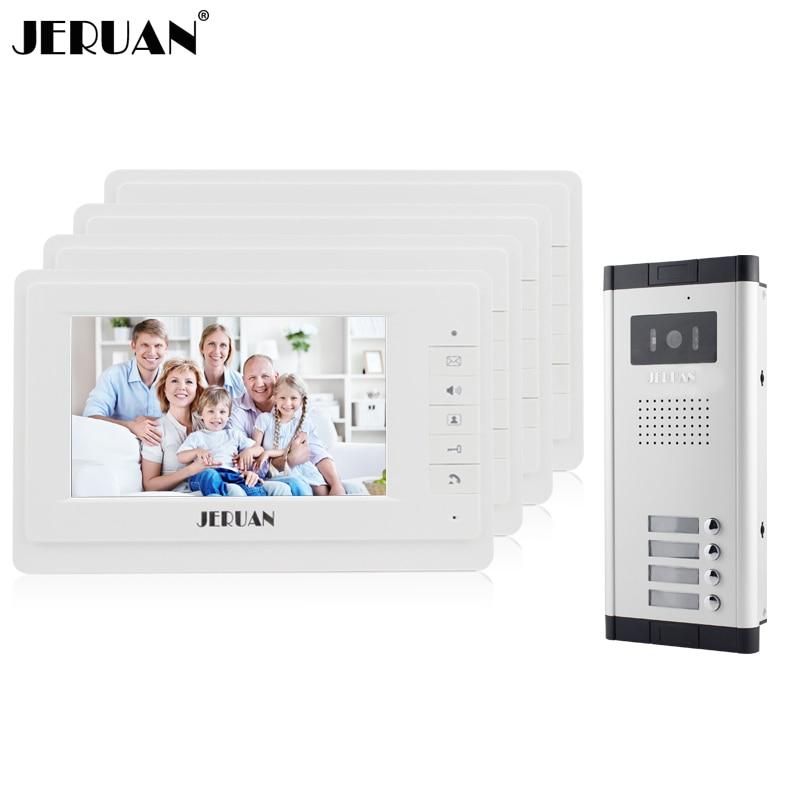 JERUAN Новый 7 видеодомофон телефон двери квартиры Системы 4 белый монитор 1 HD Камера для 4 бытовых в наличии оптовая продажа ...