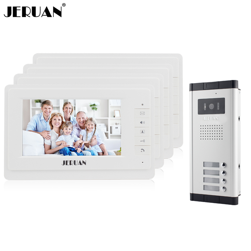 JERUAN New 7 Video Intercom Apartment Door Phone System 4 White Monitor 1 HD Camera for 4 Household In Stock Wholesale new 4 3 video intercom apartment door phone system 2 hand held monitors 1 door camera for 2 household in stock free shipping