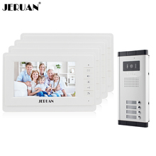 JERUAN New 7″ Video Intercom Apartment Door Phone System 4 White Monitor 1 HD Camera for 4 Household In Stock Wholesale
