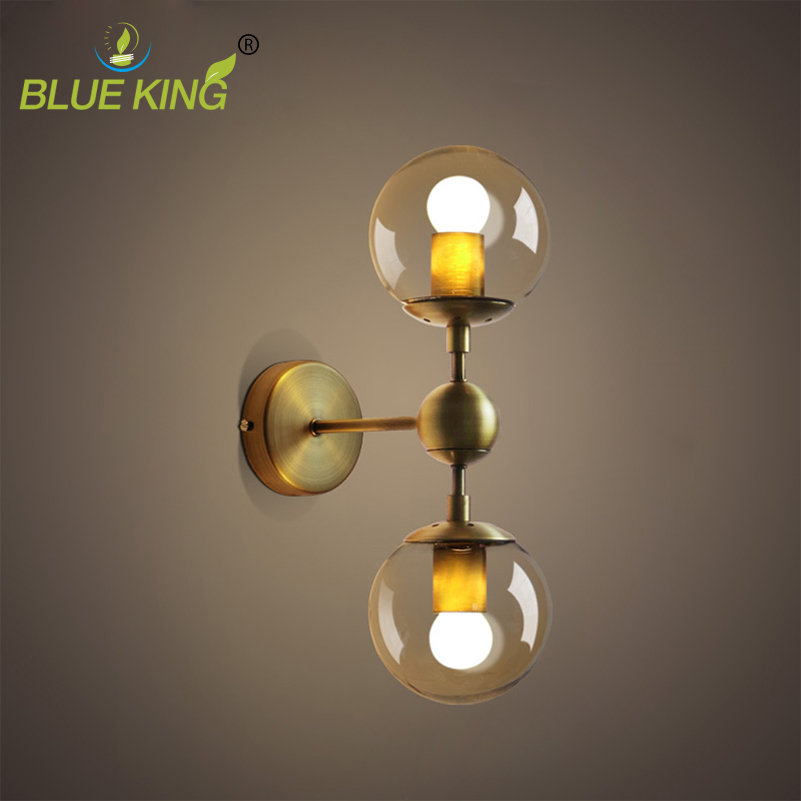 American European industry retro gold wall light modern LOFT wall lamp bean glass ball wall sconce LED round ball wall lamp