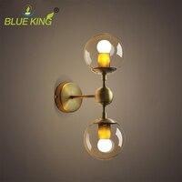 American European industry retro gold wall light modern LOFT wall lamp bean glass ball wall sconce LED round ball wall lamp