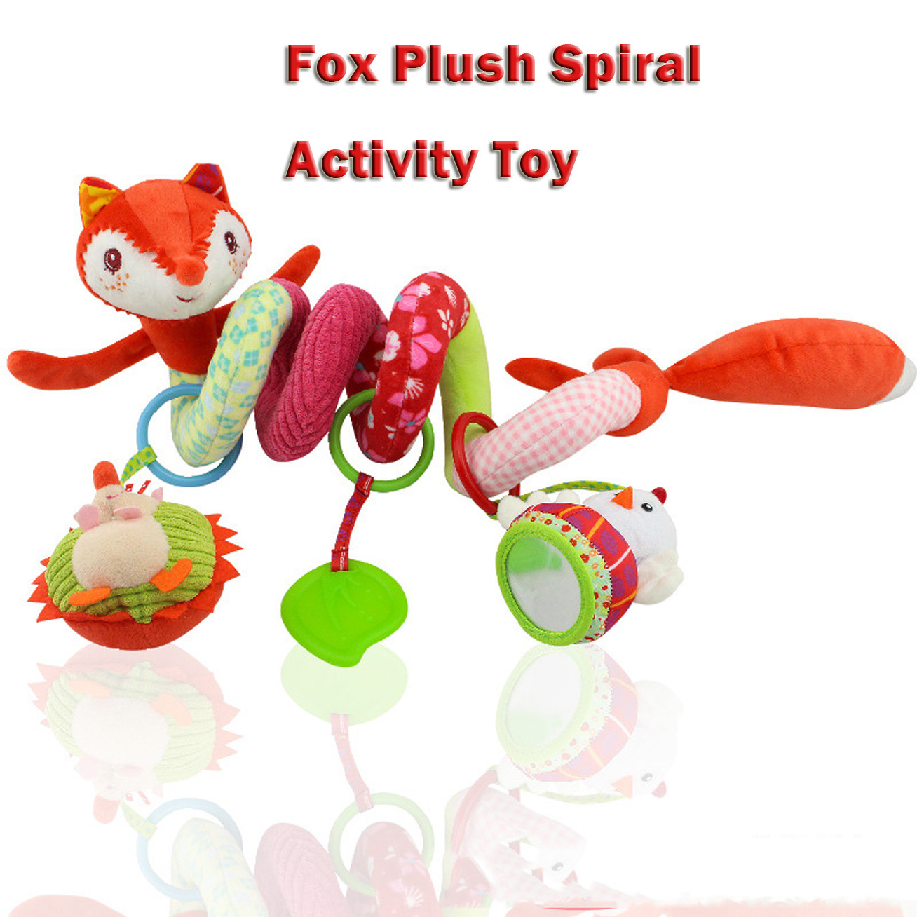 Baby Toys Rattles Soft Stroller Car Seat Activity Toy with Rattle Teether Mirror Fox Plush Spiral Hanging Bell Educational Gift