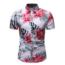 Social Blouse Men Short sleeve Mens Casual Floral Shirt Summer Hawaiian for Flower New