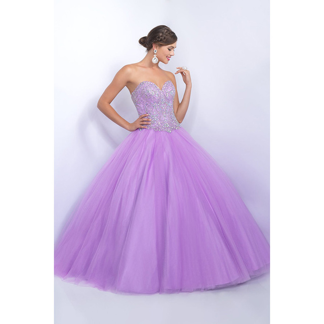 3677d5ecfcb Sparkly Lilac Quinceanera Dresses Ball Gowns Sweetheart Beaded Rhinestones  Tulle Ruffles Cheap Quinceanera Gowns 15 Years