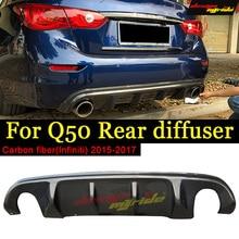 True Carbon fiber RB style Fits For Infiniti Q50 Rear Bumper Lip Diffuser Q50S Separation diffuser 2015-17