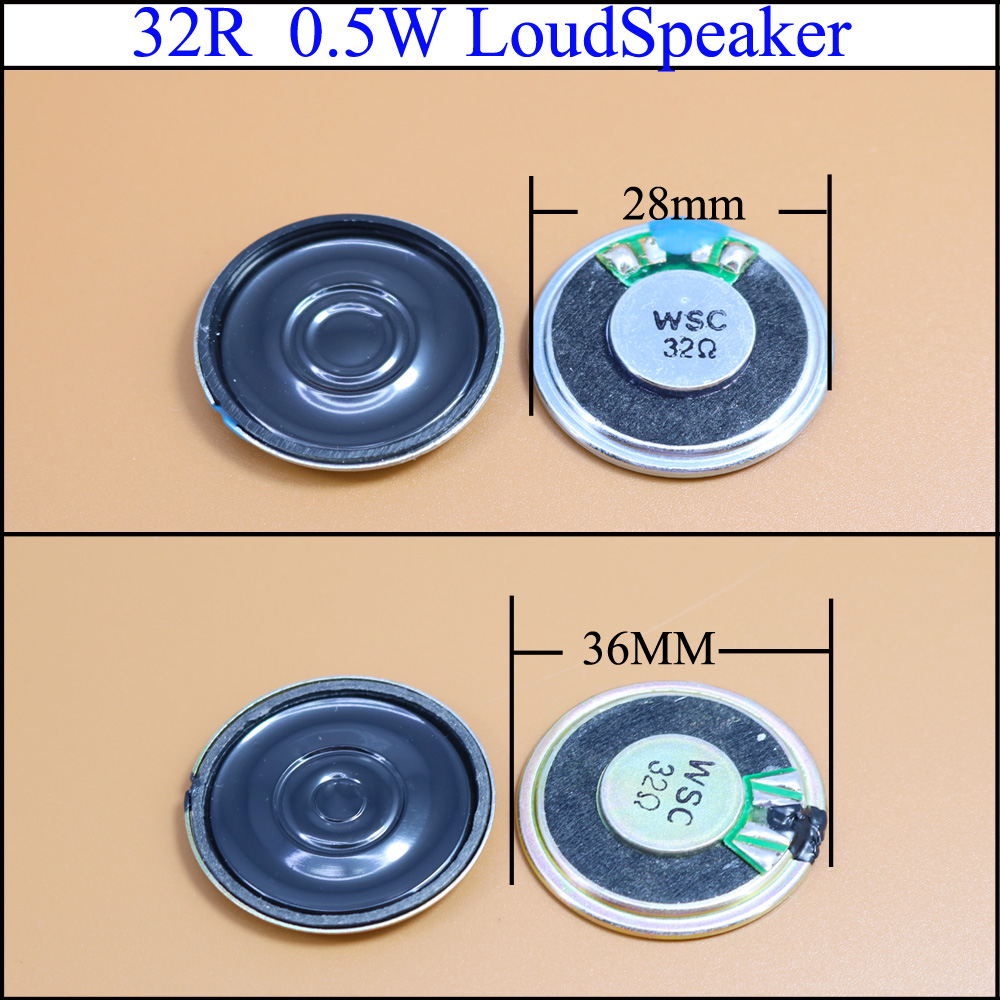 YuXi 32 Ohm 0.5W Small Trumpet 28mm 36mm Diameter Loudspeaker Loud Speaker 32R 0.5W