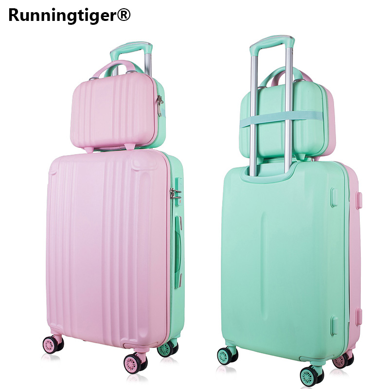 Rolling Luggage Spinner Wheels 14+24 Suitcase Trolley Men ABS+PC Travel bag Trunk Student Password box Women Carry On Luggage supra sfd 1011 dcu