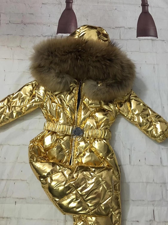 70 cm-150 cm réel fourrure à capuche bébé survêtement 2019 hiver enfants combinaison neige costume fille bas garçon bébé combinaisons ski costume