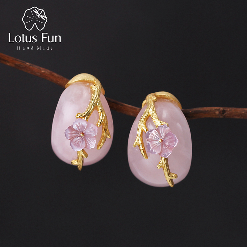Lotus Fun Real 925 Sterling Silver Natural Rosy Crystal Creative Handmade Fine Jewelry Plum Flower Stud Earrings for Women