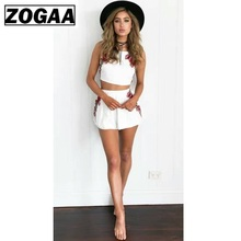 купить ZOGAA Women Summer Sexy White Two Piece Set Floral Embroidered Strapless Crop Top and Elastic Waist Shorts Suit Women 2 Pc Sets дешево