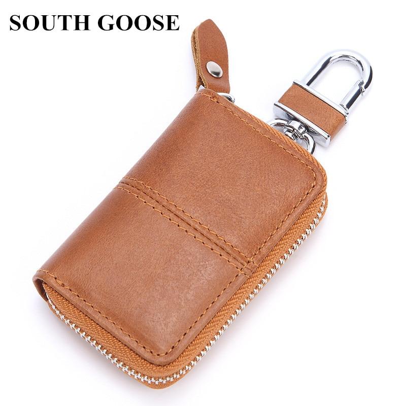 SOUTH GOOSE Brand New Men Genuine Leather Retro Car Key Holders Housekeeper Multifunctional Home Key Case Women Key Wallet