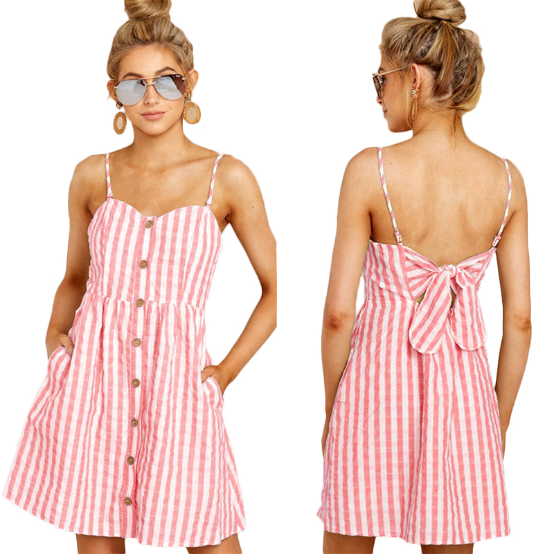 Spaghetti Strap Off Shoulder Striped Summer <font><b>Dress</b></font> <font><b>2019</b></font> <font><b>Women</b></font> Bow Backless <font><b>Dress</b></font> <font><b>Sexy</b></font> Vestidos image