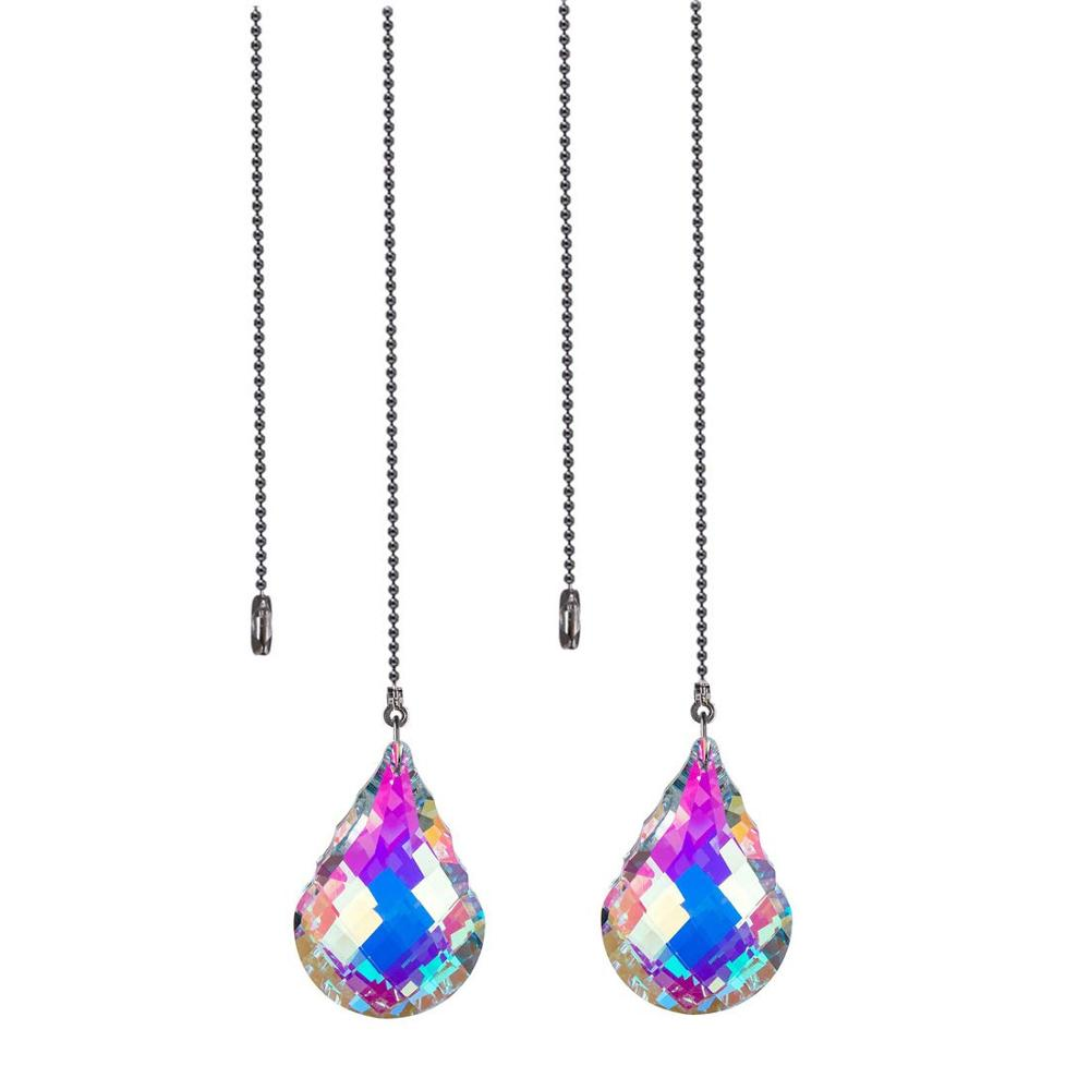 H&D Crystal Ceiling Fan Pull Chains Hanging 76MM Pendants Prism, Pack Of 2 (AB-Gourd)