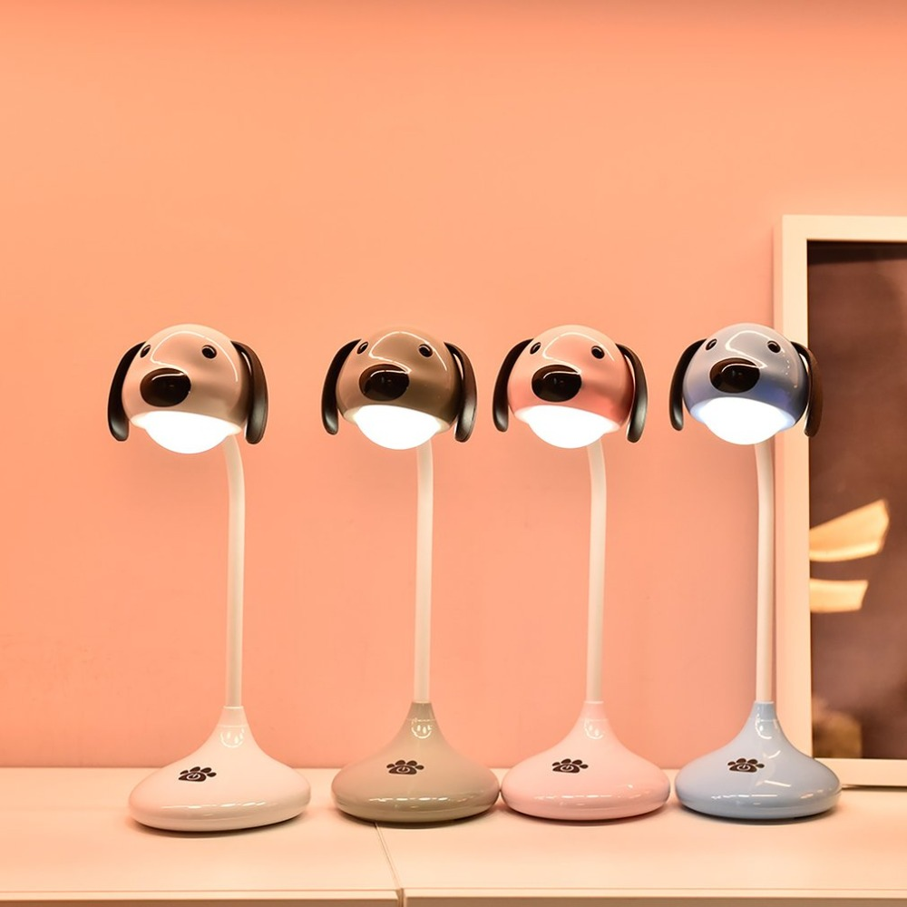 LED Touch On/off Switch Desk Lamp Rechargeable Cute Cartoon Dog Lamp Eye Protection Student Study Reading Dimmer Led Table Lamps usb 5v touch sensor dimmer mushroom led table lamp purify air purification reading desk light foyer bedroom study student gift