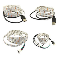 High LED TV Backlight Kit USB 5V 2M SMD5050 RGB Color Changing Strip Lights with 24 Keys Remote Control LG66(China)