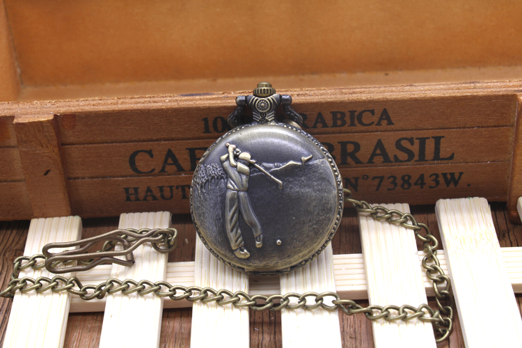 Classical Golf Quartz Pocket Watch Vintage Men And Women Gift Necklace Chain Pendant Regarder td unisex men women vintage polished black quartz pocket watch analog pendant chain clock gift box