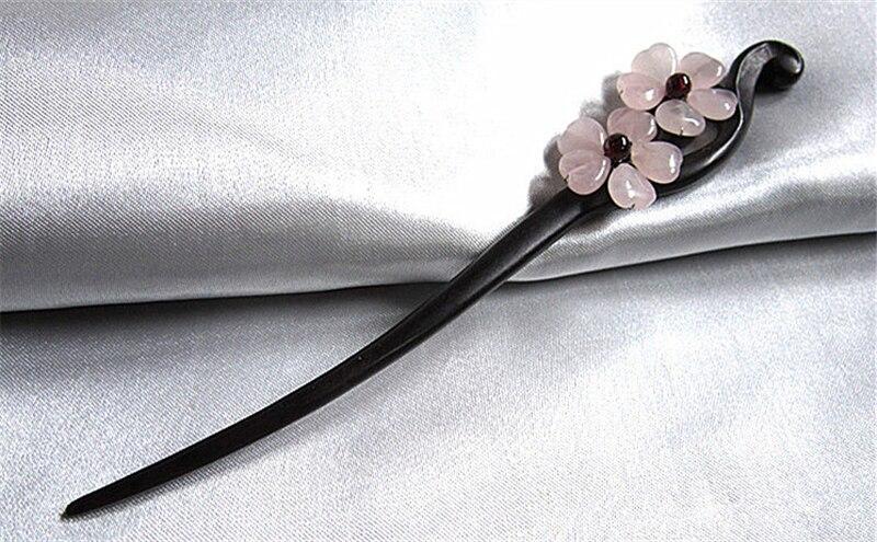 Bâton de cheveux en ébène fait à la main pierre naturelle grenat fleur bâtons épingle à cheveux Style chinois bijoux accessoires de cheveux Vintage WIGO0787