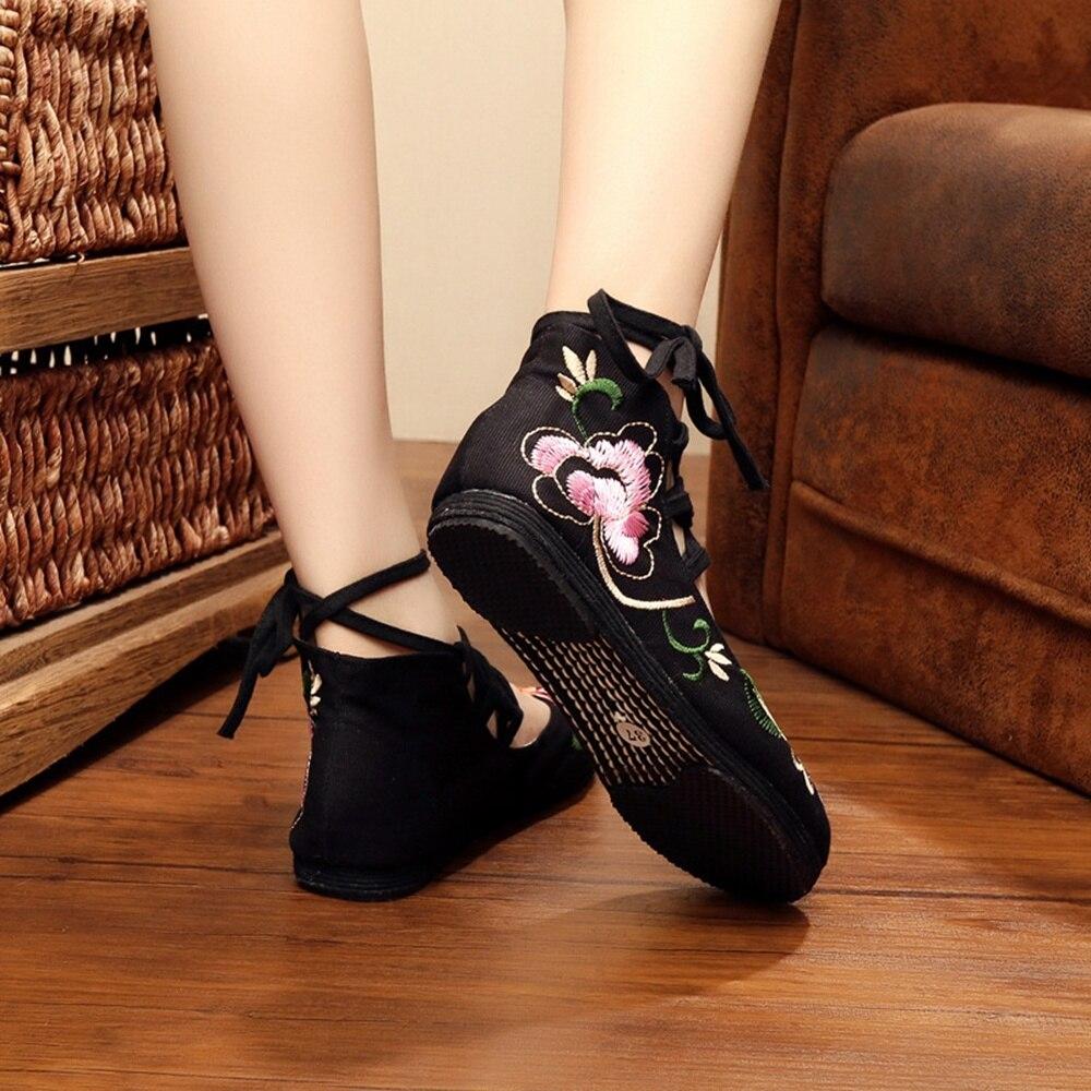 Zapatos Appartements Gladiateur Beige rouge Ledies forme À noir Coton Chaussures Floral Toile Doux Casual Mujer De Lacets Femmes Broderie Plate Mode zwraqUz