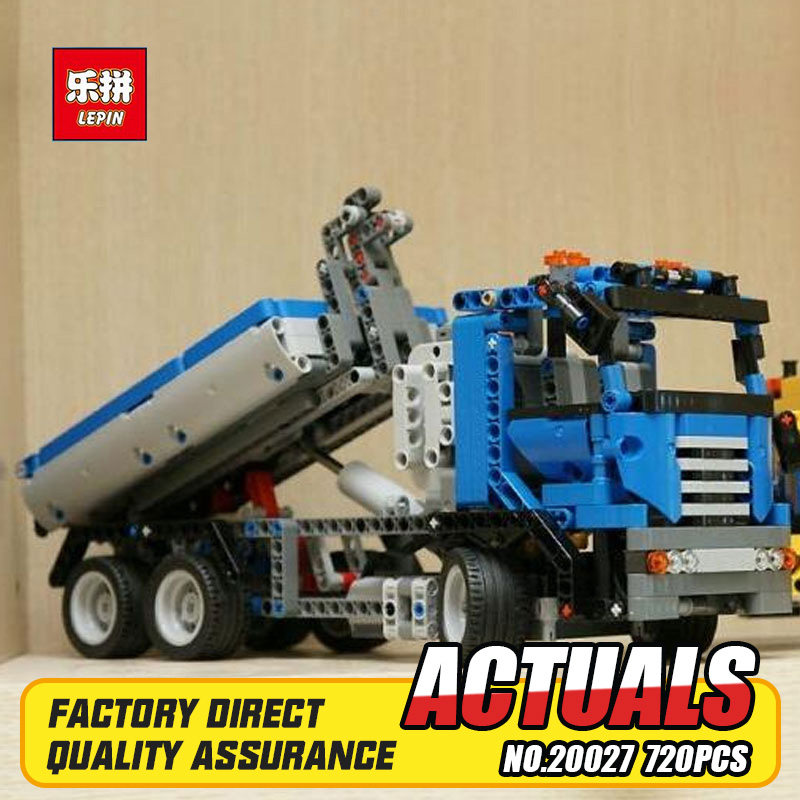 Lepin 20027 720Pcs Technic Mechnical Series The Container Truck Set Children Educational Building Blocks Bricks Toys Model 8052 ynynoo lepin 02043 stucke city series airport terminal modell bausteine set ziegel spielzeug fur kinder geschenk junge spielzeug