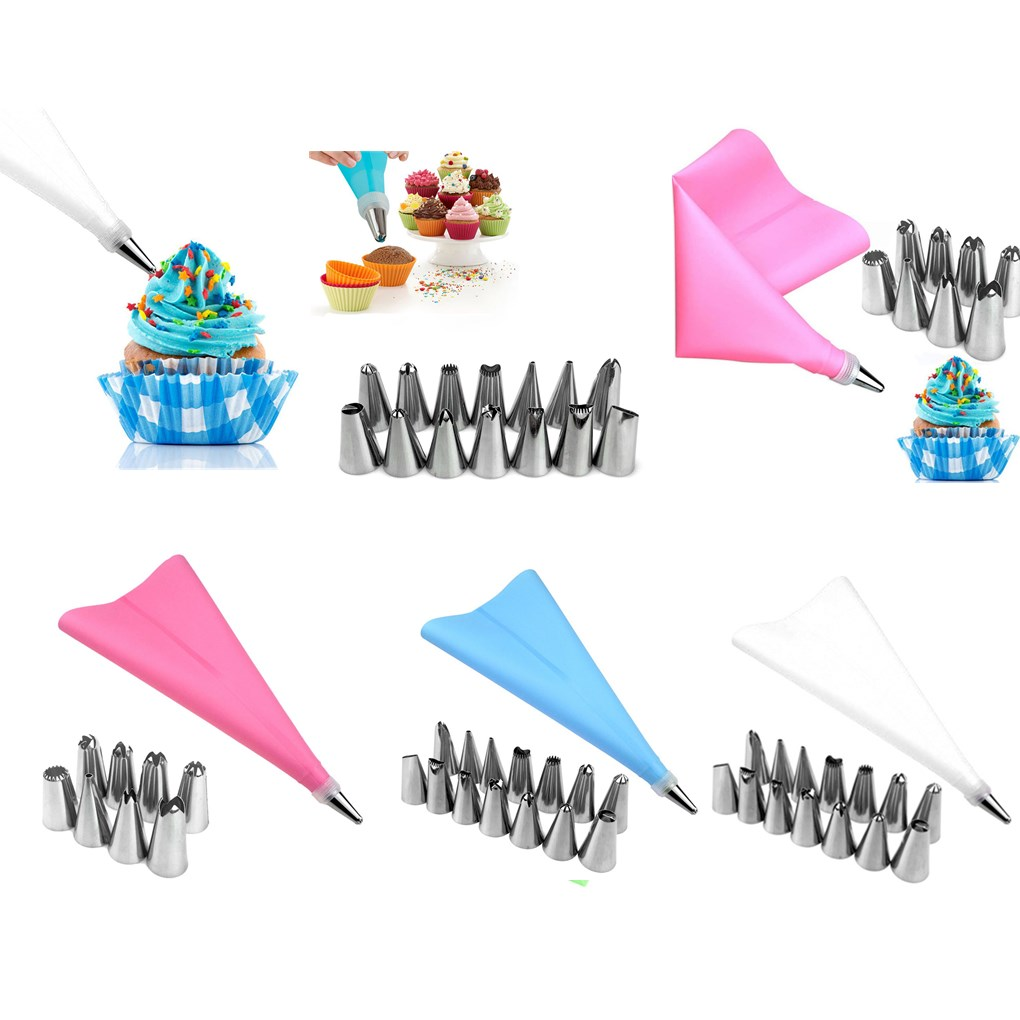 New Silicone Icing Piping Cream Pastry Bag Stainless Steel Nozzle Set DIY Cake Decorating Tips Set Kitchen Accessories in Dessert Decorators from Home Garden