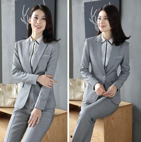 Office Uniform Designs Women Business Casual Pantsuit Two Piece Set Top and Pants Black Blue Gray Work Trouser Suit Female