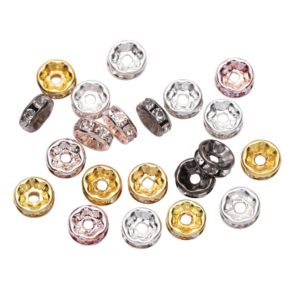 50pcs/lot 4 6 8 10mm Gold Silver Rhinestone Rondelles Crystal Bead Loose Spacer Beads