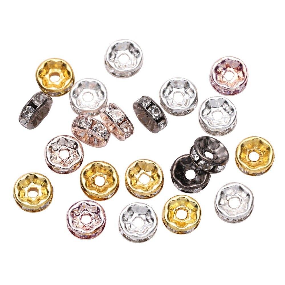 50 pçs/lote 4 6 8 10mm ouro strass rondelles cristal grânulo solto espaçador contas para diy jóias fazendo acessórios supplie