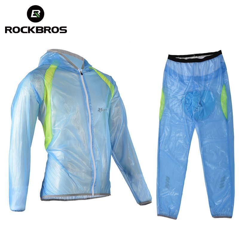Rockbros サイクリング自転車レインコートスーツ Mtb バイク釣り防雨超軽量ジャージパンツ屋外スポーツウェア