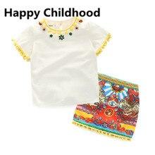 2016 D'été Vintage Filles Vêtements 2-10Y enfants fille vêtements ensemble gland t-shirt + jupe imprimée 2 pcs enfants vêtements