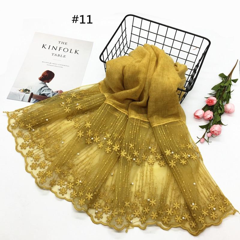 new plain lace edges   scarf   hijab pearl   scarves     wrap   Fashion cotton muslin headscarf women Shawls brand foulard femme 185x90cm