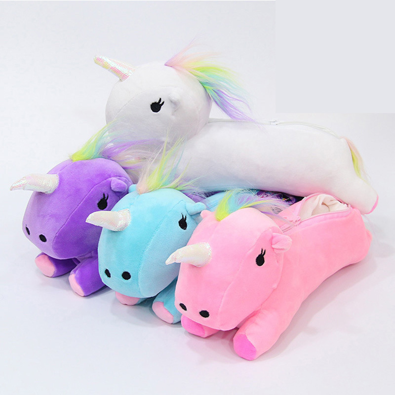 Kawaii Unicorn Plush Pencil Case Cute Colorful Pen Bags For Kids Students Gift Toys School Stationery Supplies escolar