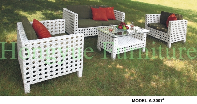 White Wicker Outdoor Patio Furniture Set With Cushion And Pilllows