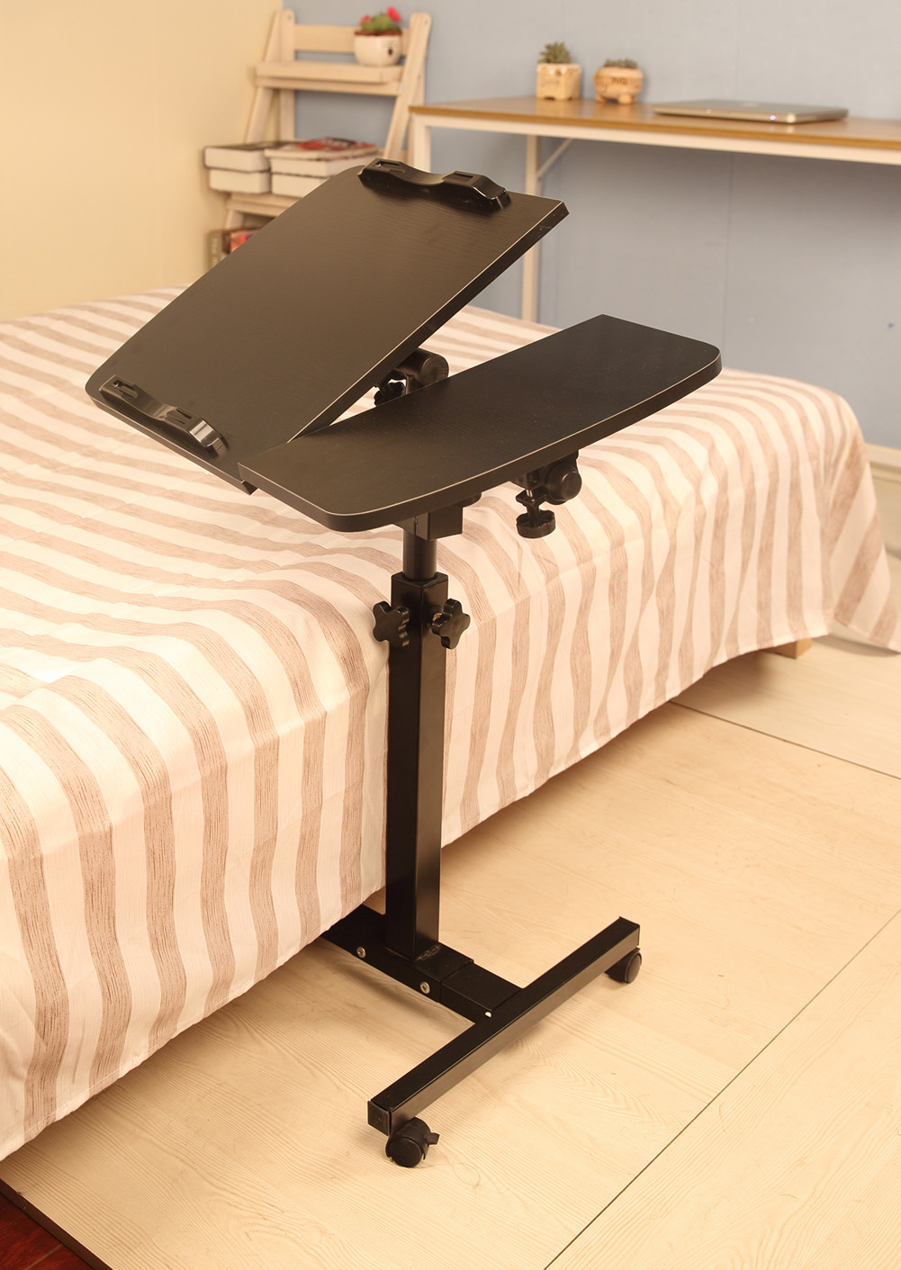 2019 turnlift sit-stand Mobile Laptop Desk Cart with Side Table notebook Stand Tray For Sofa Bed Black(China)