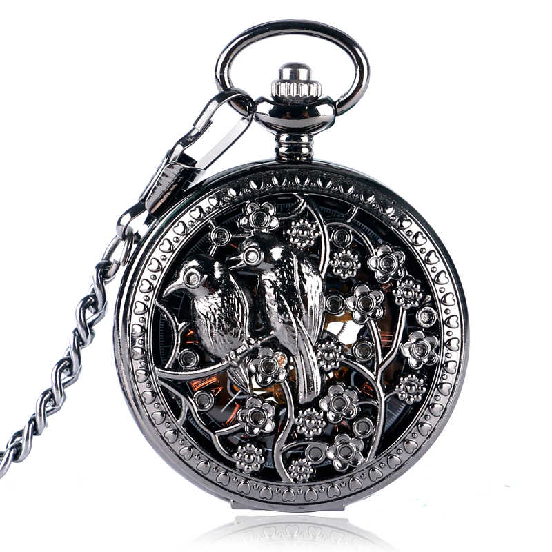 Black Hollow Birds Flowers Case Design Roman Number Skeleton Hand-wind Mechanical Pocket Watches with Chain For Men