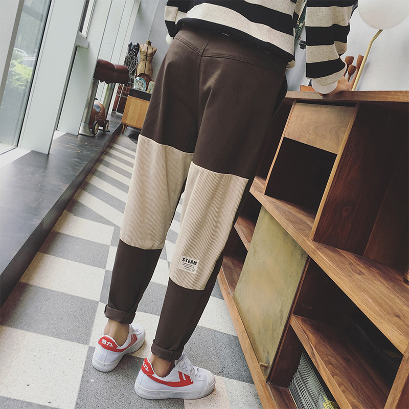 Hip Hop Casual Harem Pants Mens Summer Fashion 2018 New Color Patchwork Loose Fit Plus Size Corduroy Cropped Pants For Men