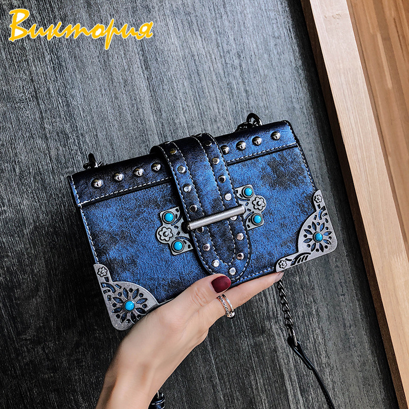 2019 Fashion New Tide Rivet Mini Chain Small Square Bag Lady Wild Shoulder High Quality PU Crossbody Flap Bag Metal Buckle Retro in Shoulder Bags from Luggage Bags