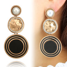 2018 Hot 1Pair Black Metal Pearl Earrings Pendant Long Alloy Big Statement Women Female Fashion Jewelry Boho Party Gift(China)