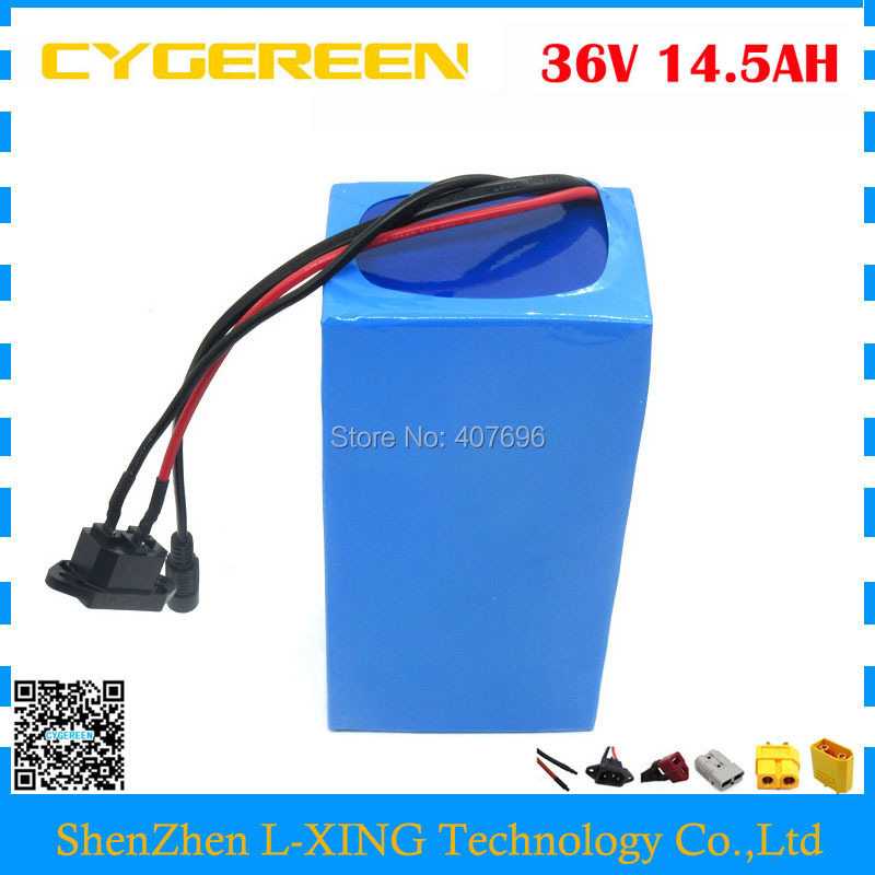 Free customs fee 36V 14.5AH lithium battery 36V 14.5AH ebike battery use NCR18650PF 2900mah cell with 15A BMS 2A charger