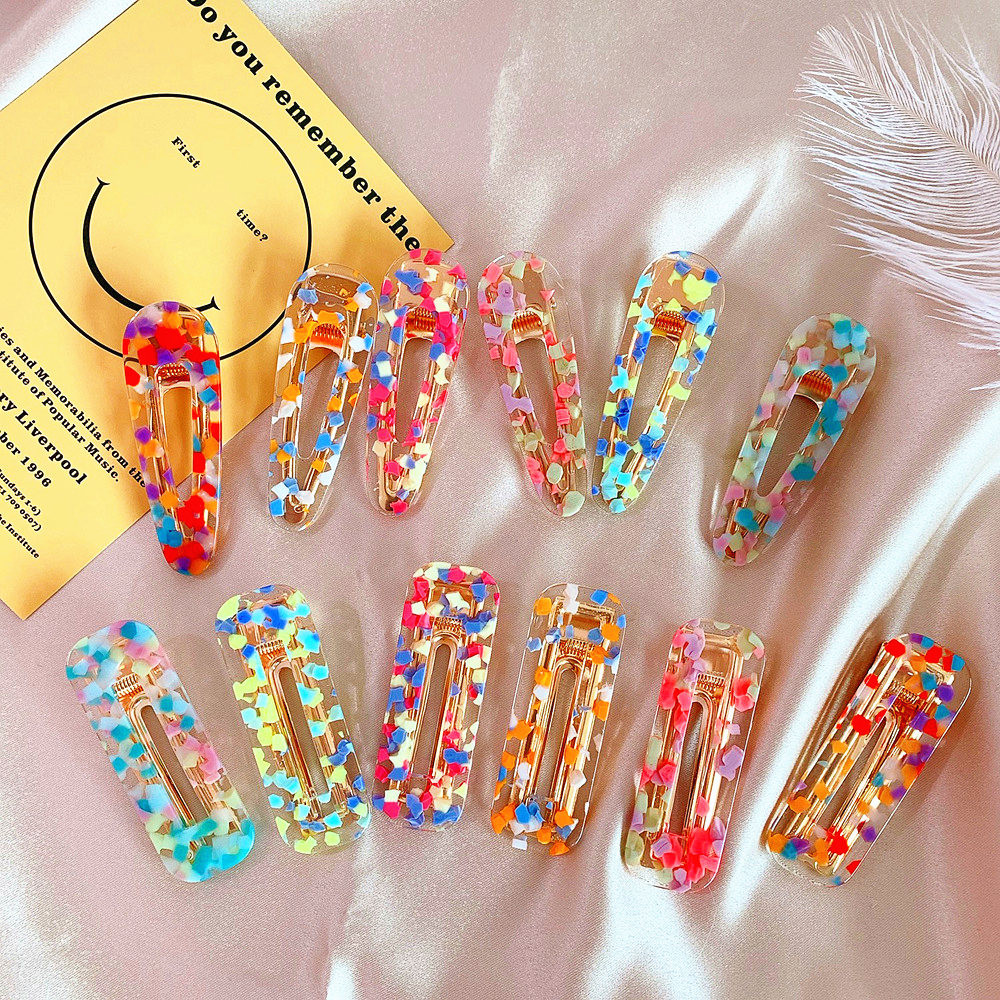 2019 New Women Girls Korea Acrylic Hollow Waterdrop Rectangle Hair Clips Sequins Hairpins Barrettes Hair Accessories