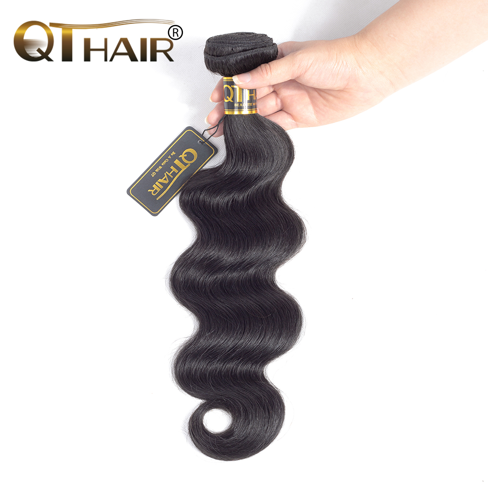 Indian Body Wave Bundles 100% Human Hair Bundles 1 st Non-Remy Hair Extensions Weave 8-28inch Kan Mix Length QThair Fast Ship