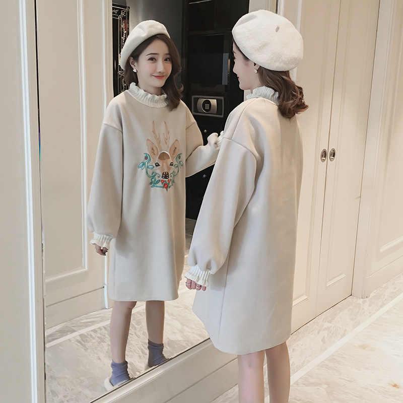高品質産科のセータードレスファッション秋冬ウール刺繍ルーズスウェット毛深いドレス妊娠