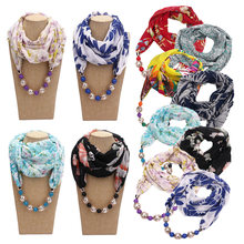 Multi-style Womens Printed Chiffon Scarf Turban Beaded Pendant Jewelry Bohemia Multi-functional Dress Necklace